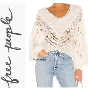 Free People Ivory Snowball Sweater